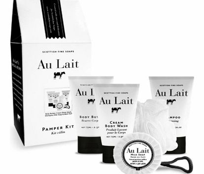 Au Lait Milk-Enriched Pamper KitThis gorgeous pamper kit includes everything you need for an intensely relaxing and deeply moisturising pamper session. The Au Lait Pamper Kit is the perfect head to toe solution as it includes products for the whole b