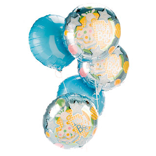 Welcome a new born Baby Boy into this big wide world with this lovely bouquet of five floating 45cm