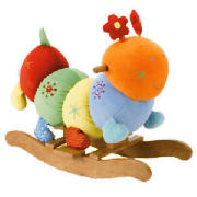 Rocking Charlie Caterpillar is brightly coloured and softly padded, with crinkles, rattles and squea