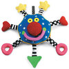 This soft velour Baby Whoozit toy features bright colours and high-contrast patterns, with rattles,