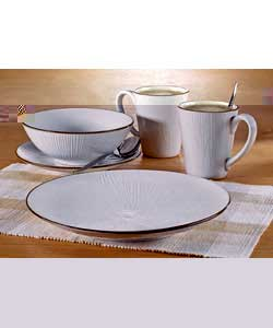 4 place settingsComprises 4 each of diner plates, side plates, bowls and mugs.Dinner plate diameter
