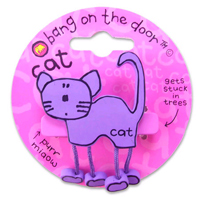 Bang-On-The-Door hair slide in Purple Cat design, with moving legs
