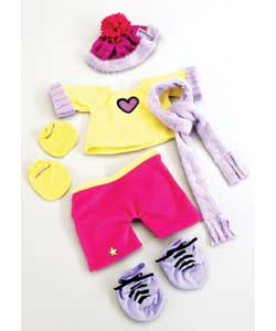 Collection of trendy outfits for 40cm Baby dolls.