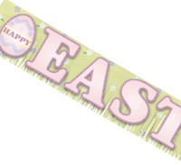 This Happy Easter Banner will cheer up a blank wall at your Easter event be it a parade, a fair or