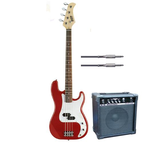 Great value package including the Gear4music Bass Guitar in Red with a 10 Watt BB Blaster Amplifier