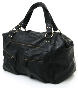 Large black shoulder bag with zip fastening closure and front pocket detail. Spacious and stylish, t