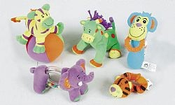 Five different rattles/teethers featuring the five Beanstalk characters