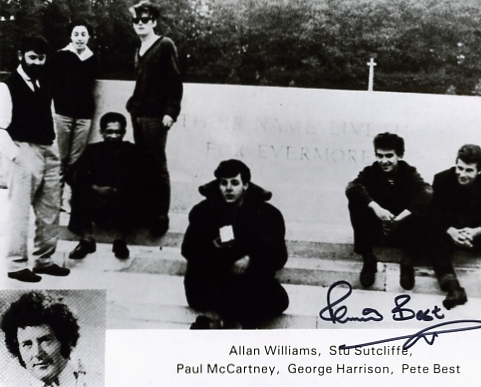 A tremendous black and white photograph of The Beatles signed by Pete Best in black pen