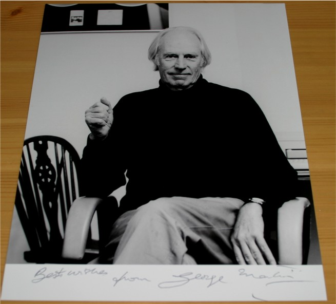 Superb photo of Beatles producer - often referred to as the fifth Beatle - Sir George Martin which