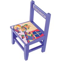 Child's wooden chair featuring a charming handpainted scene. Height 43cm (17&quote;). Available