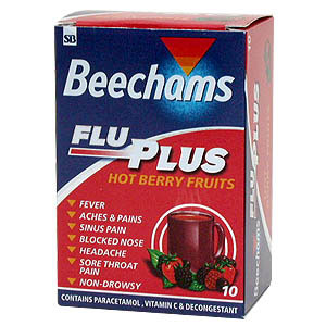 Beechams Flu Plus Hot Berry Fruits powders provide