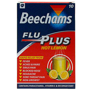 Beechams Flu Plus Hot Lemon Powders provide rapid and effective relief from the major cold and flu