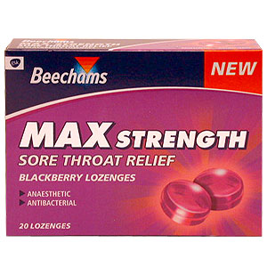 Beechams Max Strength Sore Throat Relief blackberry lozenges provide effective relief from sore thro