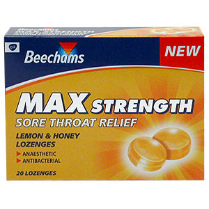 Beechams Max Strength Sore Throat Relief lemon and Honey Lozenges provide effective relief from sore