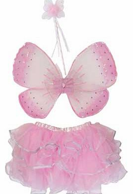 Make fairy magic with this beautiful costume. The glittery sequin wings have elastic straps with velcro fastening while the tiered pink skirt is edged with silver ribbon. A matching butterfly wand completes the look. Perfect for parties or for just d