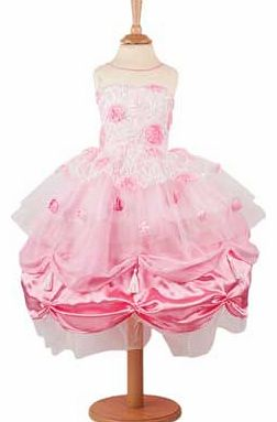 This stunning dress has a bodice of lace. scattered with pink roses and sparkly sequins. Layers of chiffon. net and satin cascade over the double hooped skirt and are topped with even more roses. Supplied with a limited edition certificate and an org