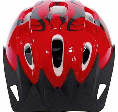 This Challenge Bike Helmet combines style and crucially. safety to make this very cool kids bicycle helmet. Stylish red design with black print will make your little boy look super cool as he rides. Designed to offer secure protection to the head of