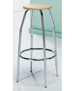 Unbranded Chrome and Beech Effect Bar Stool