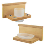 These classic beech veneer and frosted glass items are ideal for the bathroom.  The tumbler and