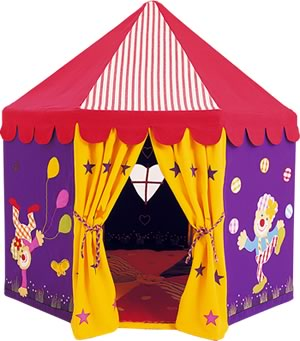 The Circus Big top play tent is made from 100% cotton and then appliquéd and embroidered with