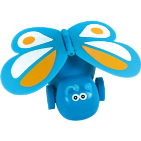 Cheeky butterfly that runs forward rapidly on wheels  with wings flapping. Assorted colours. 5cm