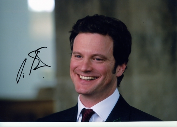 Signed in blue pen by Colin Firth. Certificate of Authenticity no. 0100000437