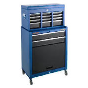 This Draper combined roller cabinet and chest toolbox is made of steel for long lasting use and blue