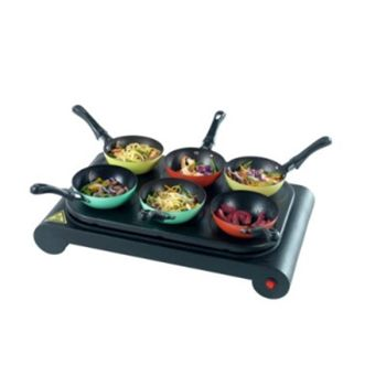 6 Individual WoksNon-stick coatingIdeal for dinner partiesBrings the kitchen to the dining tableIncludes Recipe book and CDWM game2 Year GuaranteeProduct dimentions L: 29.2 W: 47 H: 18 cmPacked dimensions L: 34.2 W: 51.8 H: 18.5 cmProduct Weight 2.54