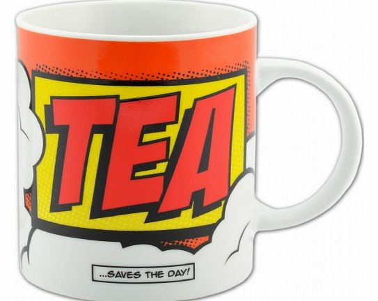 Comic Book Tea Mug The Comic Book Tea Mug has TEA...SAVES THE DAY! on the front and back. With a cool comic book theme, it is perfect for work or home! The novelty mug measures around 10.5 cm x 7.8 cm x 9.3 cm and is dishwasher and microwave safe. It
