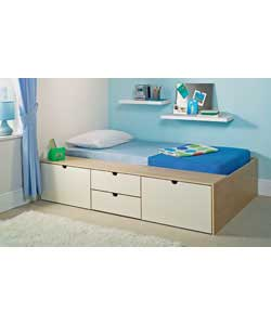 Maple and ivory effect solid platform top cabin bed with 4 storage drawers.Size of drawers (W)65,