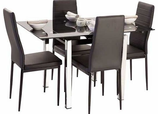 The ultra modern Crayford dining set is sure to bring a touch of style to your home. The Crayford is made from black glass with chrome metal legs. and is accompanied by four faux leather dining chairs with cushioned seat pads for extra comfort. Sure
