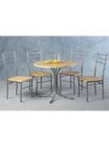 The Crosby Rectangular Dining Set features a golden beech veneered table with silver metal frame