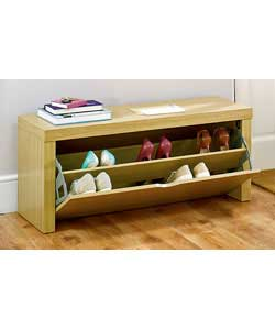 Oak effect storage bench.Holds up to 10 pairs of shoes (size 8 mens).Size (H)44.5, (W)100, (D)38.5cm