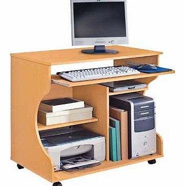 A beech-effect desk and trolley all in one. to solve your storage and mobility problems with style. This smart desk fits neatly into your office. offering a compact workstation with a pull-out keyboard shelf fitted on metal runners and generous stora