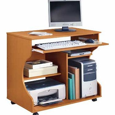 A pine-effect desk and trolley all in one. to solve your storage and mobility problems with style. This smart desk fits neatly into your office. offering a compact workstation with a pull-out keyboard shelf fitted on metal runners and generous storag