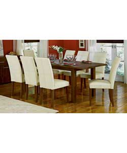Size of table (L)173 extending to 218, (W)90, (H)74cm.Size of chair (W)43, (D)60, (H)96cm. Butterfly