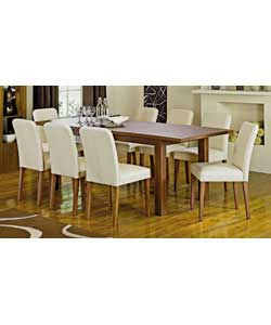 Size of table (L)173 extending to 218, (W)90, (H)76cm.Size of chair (W)45, (D)53, (H)85cm.Butterfly