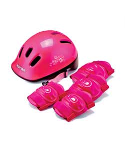 Contains pink cycle helmet size 48-52cm and one set of knee and elbow pads. 6 vents.