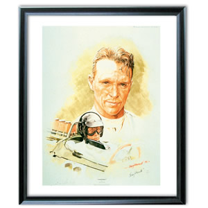 This painting of Dan Gurney pictures him taking his and Brabham`s first formula 1 win in the 1964 Fr