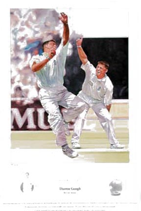 `Darren Gough` by Gary Keane - a limited edition of 495 prints signed by Darren Gough and Gary