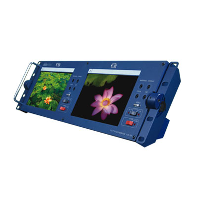 The TLM-702 includes two 7 inch TFT LCD monitors in a standard 19 inch rackmount. It can tilt up to