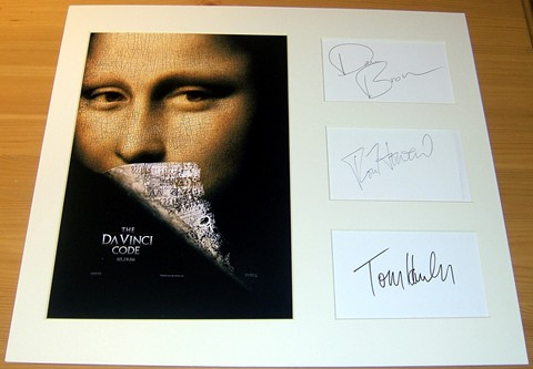 Signed and professionally mounted presentation from the movie The DaVinci Code containing the