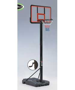 Height adjustable from 250cm to full size professional height of 305cm.Backboard crafted from thick