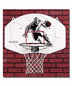 Basketball backboard made from tough and durable material includes a regulation size 46cm steel