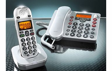 With this advanced DECT phone system you can enjoy the best of both worlds: the freedom to roam around the house using the cordless receiver, plus the reassurance of staying in touch at any time, day or night, using the corded desk phone. The desk ph