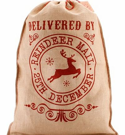 Reindeer Mail Hessian Christmas Sack Sent to you by Reindeer Post, this magical Santa Sack will look fantastically festive in your home! Canandrsquo;t you just picture it, nestled snugly underneath your tree?! The jolly red print on this hessian sack