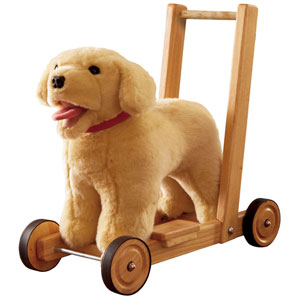 This lovely Labrador baby walker can be pushed along or sat on; making it the perfect partner to