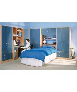 1 door pine effect corner wardrobe with blue wash