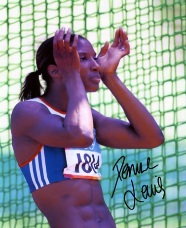 Signed in black pen by Denise Lewis. Certificate Of Authenticity no. 0480000043