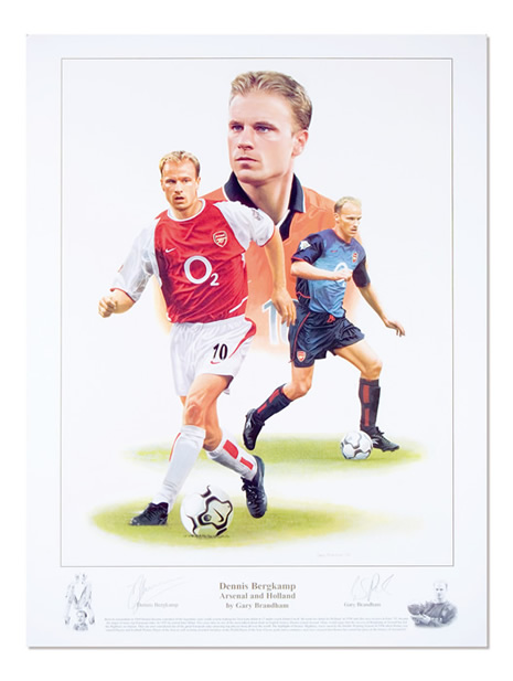 `Dennis Bergkamp` by Gary Brandham - a limited edition of 500 prints signed by Dennis Bergkamp and